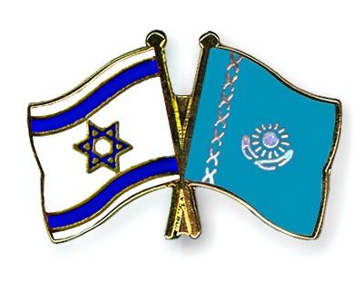 Crossed Flag Pins Israel-Kazakhstan