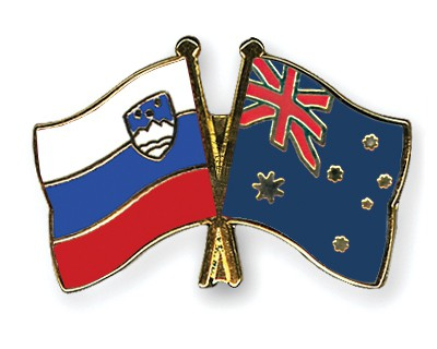 Crossed Flag Pins Slovenia-Australia