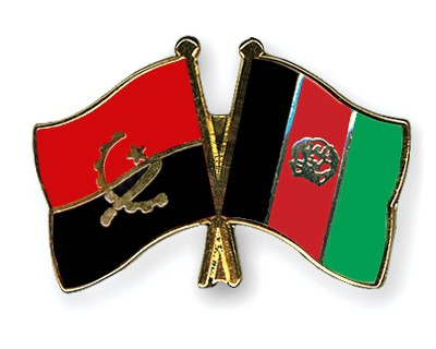 Crossed Flag Pins Angola-Afghanistan
