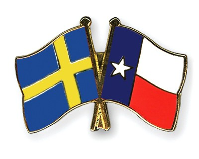 Crossed Flag Pins Sweden-Texas