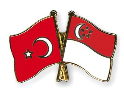 Crossed Flag Pins Turkey-Singapore
