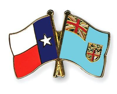 Crossed Flag Pins Texas-Fiji