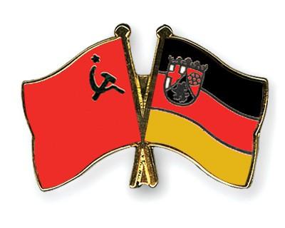 Crossed Flag Pins USSR-Rhineland-Palatinate