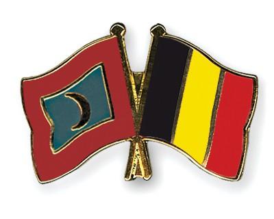 Crossed Flag Pins Maldives-Belgium