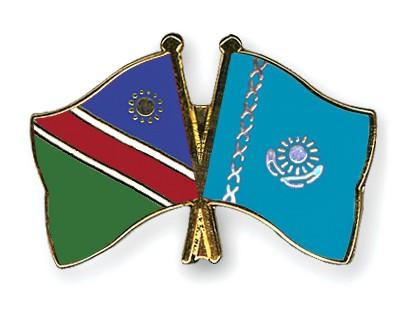 Crossed Flag Pins Namibia-Kazakhstan