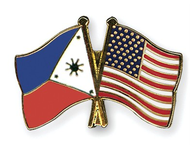Crossed Flag Pins Philippines-USA