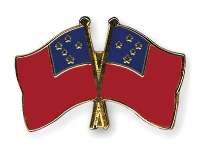 Crossed Flag Pins Samoa-Samoa