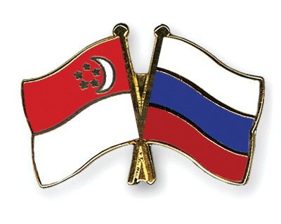 Special Offer Crossed Flag Pins Singapore-Russia