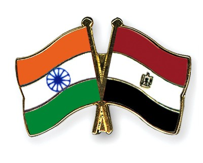 Crossed Flag Pins India-Egypt
