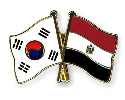 Crossed Flag Pins South-Korea-Egypt