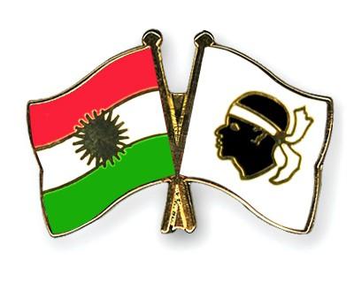 Crossed Flag Pins Kurdistan-Corsica