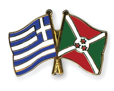 Crossed Flag Pins Greece-Burundi