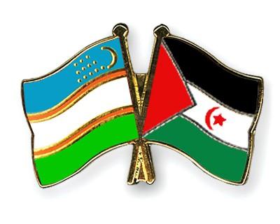 Crossed Flag Pins Uzbekistan-Western-Sahara