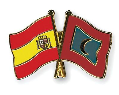 Crossed Flag Pins Spain-Maldives