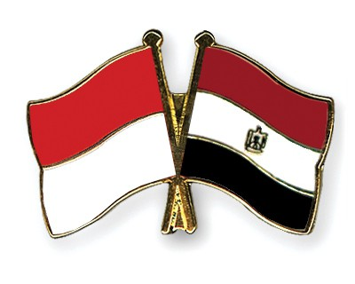 Crossed Flag Pins Indonesia-Egypt