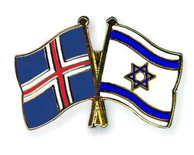 Crossed Flag Pins Iceland-Israel