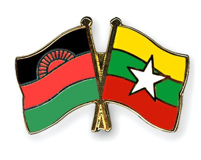 Crossed Flag Pins Malawi-Myanmar