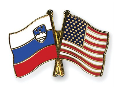 Special Offer Crossed Flag Pins Slovenia-USA
