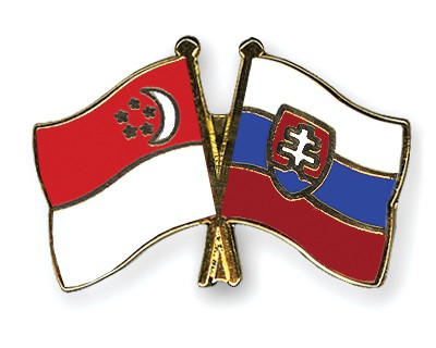 Crossed Flag Pins Singapore-Slovakia