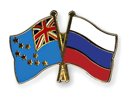 Crossed Flag Pins Tuvalu-Russia