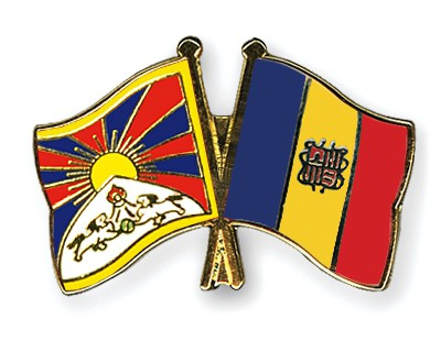 Crossed Flag Pins Tibet-Andorra