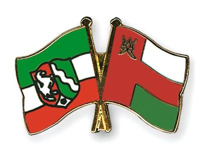 Crossed Flag Pins North-Rhine-Westphalia-Oman