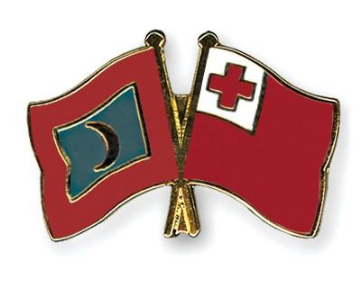 Crossed Flag Pins Maldives-Tonga