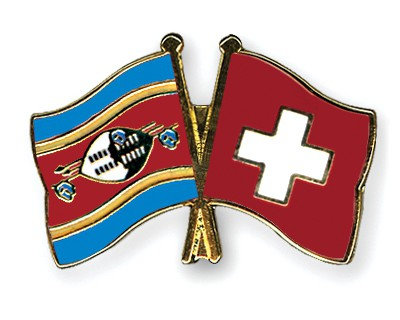 Crossed Flag Pins Swaziland-Switzerland