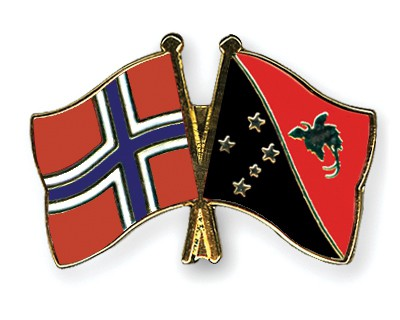 Crossed Flag Pins Norway-Papua-New-Guinea