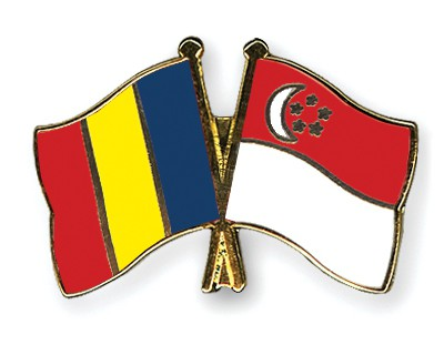 Special Offer Crossed Flag Pins Romania-Singapore