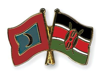 Crossed Flag Pins Maldives-Kenya