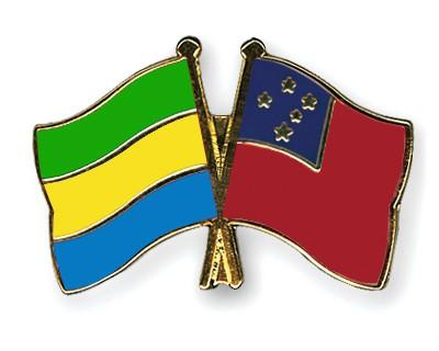 Crossed Flag Pins Gabon-Samoa