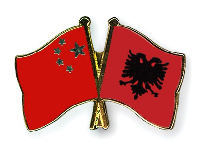Crossed Flag Pins China-Albania