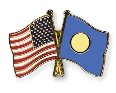 Crossed Flag Pins USA-Palau