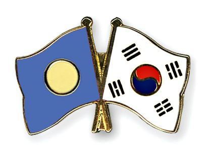 Crossed Flag Pins Palau-South-Korea