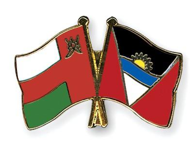 Crossed Flag Pins Oman-Antigua-and-Barbuda