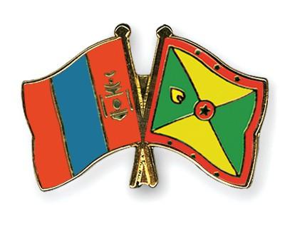 Crossed Flag Pins Mongolia-Grenada