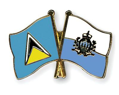Crossed Flag Pins Saint-Lucia-San-Marino