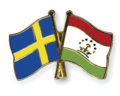 Crossed Flag Pins Sweden-Tajikistan