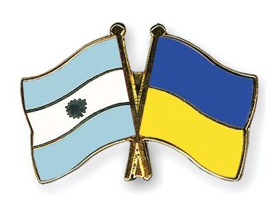 Crossed Flag Pins Argentina-Ukraine