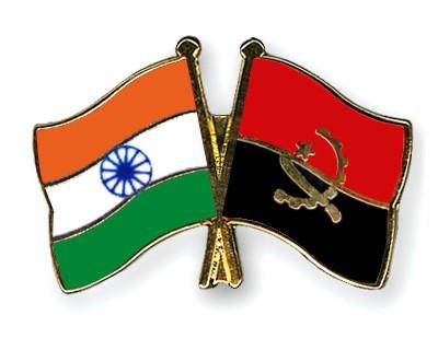 Crossed Flag Pins India-Angola