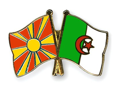Crossed Flag Pins Macedonia-Algeria