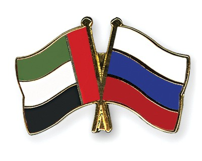 Crossed Flag Pins United-Arab-Emirates-Russia