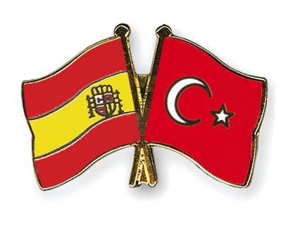 Crossed Flag Pins Spain-Turkey