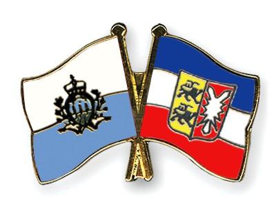 Crossed Flag Pins San-Marino-Schleswig-Holstein