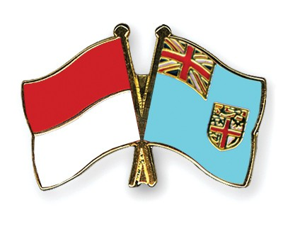 Crossed Flag Pins Indonesia-Fiji