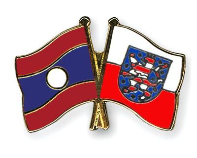 Crossed Flag Pins Laos-Thuringia