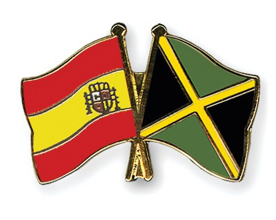 Crossed Flag Pins Spain-Jamaica