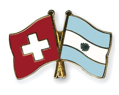 Crossed Flag Pins Switzerland-Argentina