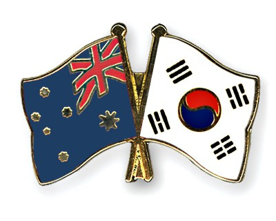 Special Offer Crossed Flag Pins Australia-South-Korea